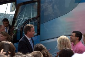 Cameron meets student protesters on arrival: David Cameron Visits Varndean College, Brighton during General Election 2010