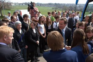 meeting and greeting local students: David Cameron Visits Varndean College, Brighton during General Election 2010