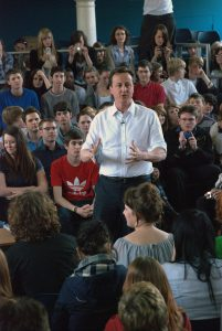 David Cameron delivering his speach at Varndean College i: David Cameron Visits Varndean College, Brighton during General Election 2010