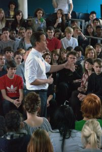David Cameron delivering his speach at Varndean College v: David Cameron Visits Varndean College, Brighton during General Election 2010
