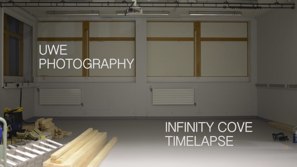 Still from timelapse film of the construction of an Infinity Cove at UWE Bristol